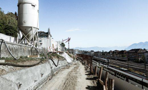 Début des travaux de la liaison ouest du site Plateforme 10